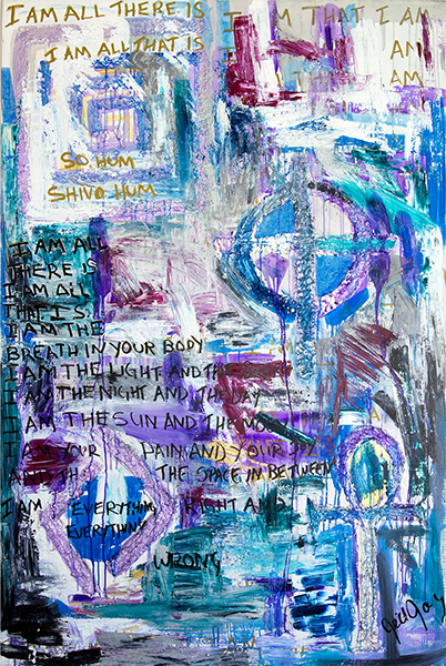 "Divine Love, mixed media on canvas, 72x48x2"", 2006"