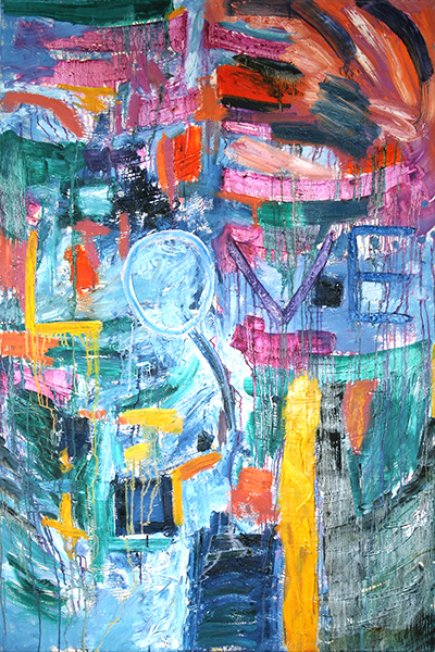 "Love, mixed media on canvas, 72x48x2"",  2005"