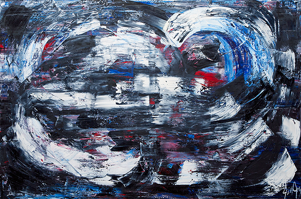 """Death Comes and Recedes, oil on canvas, 48x72"""", 2013"""