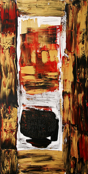 "I'm Almost Out, mixed media on canvas, 36x18x1.5"", 2006"