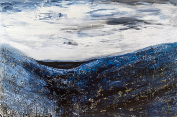 "Black Ice, mixed media on canvas, 48x72x1.5"", 2010"