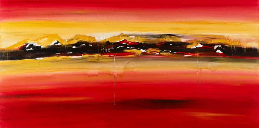 "Jill Joy - Barrier - oil on canvas - 36x72"" - 2016 