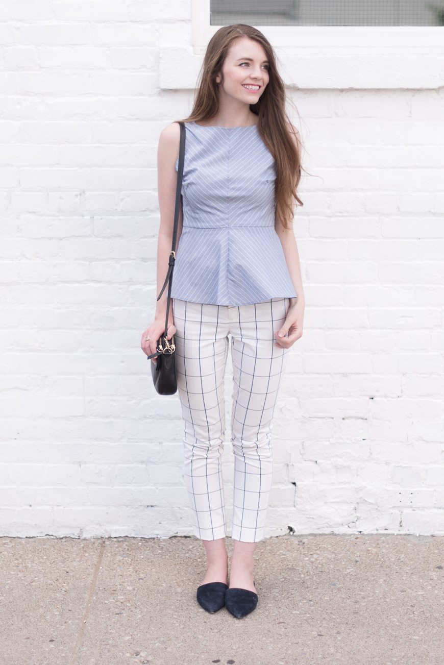 Top: Banana Republic Striped Peplum (spring) | Pants: Banana Republic 'Ryan' Windowpane (spring)  | Mules: Nine West 'Trey' (spring)