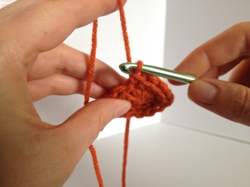 Step 3 (different angle): Hold your work firmly with your thumb, ring and pinkie fingers.