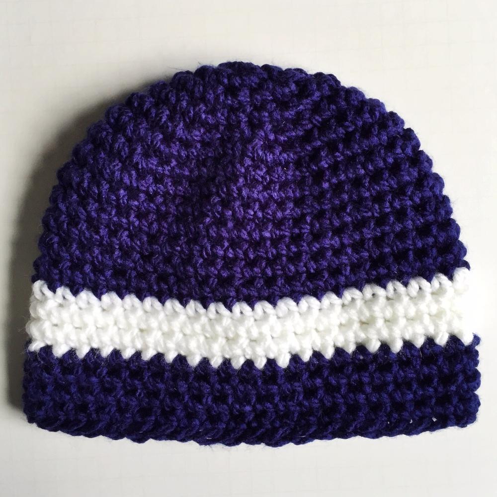 navy chunky stripe beanie crochet pattern
