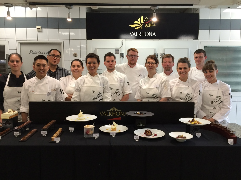 Chef Angela 5th from left and her class photo - the other chefs from left: Lynn Echeverria - Tartine Bakery, Lance Nitta - Madera, Alex Espiritu - Valrhona, Veronica Arroyo - Michael Minna Corporate, Angela Salvatore - Waterbar, Dries Delanghe - Alexander's Patisserie, Christophe Domange - Valrhona, Nicole Krasinski - State Bird Provisions, Paul Lemieux - Auberge de Soleil, Stephanie Prida - Manresa, Martin Boutry - Valrhona, Amber Blalock - Craftsmen and Wolves.