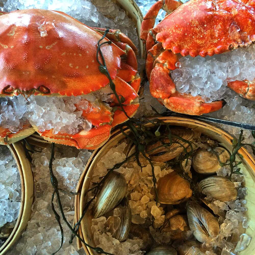 Some of your ingredients for the shellfish bisque.... crab and clams