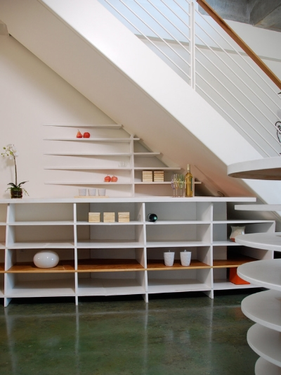5. Shelves give value to this easily wasted space.