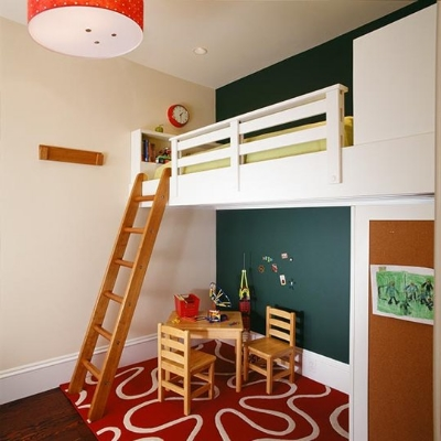 7. Use the space you've got in a child's small bedroom with a loft bed. Love this. Instant play area.
