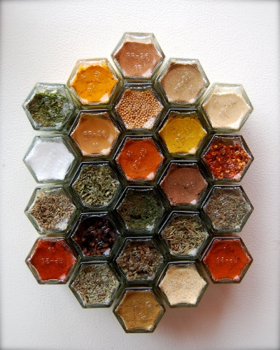 9. Beautiful little jars with magnetic lids make spice storage efficient and pretty. These are available on Etsy – source below.
