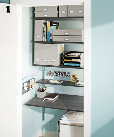 1. There's so much available storage space in overhead shelving.