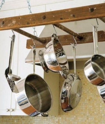 9. Above the sink for pots and pans...