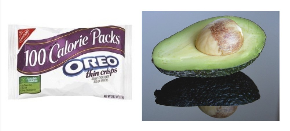 100 Calori Pack of Oreo (Image: Nabisco) vs. ½ of an avocado (Image: PaleoTerran)
