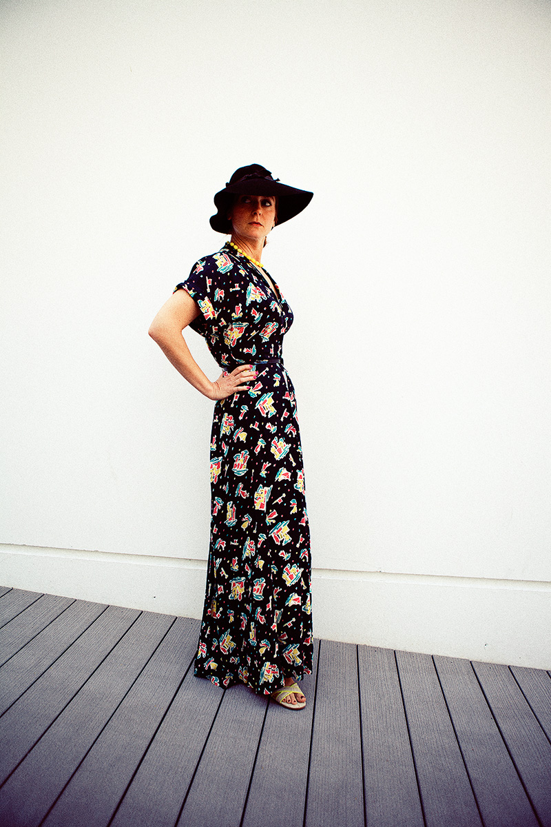Behold, the hostess gown in its full glory. Vegan sandals from TOMS.