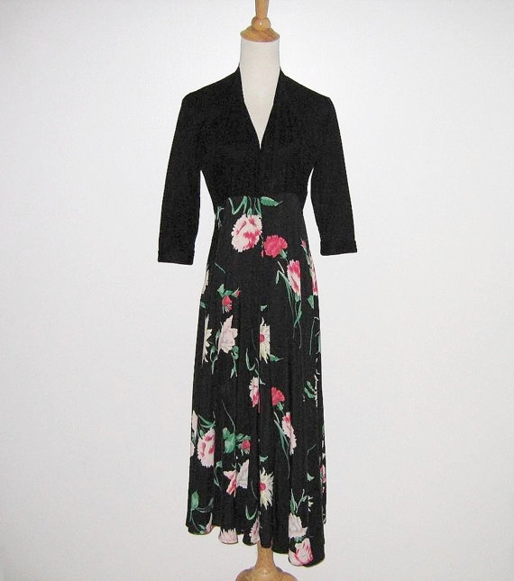 1940s black floral hostess gown, $130 on etsy