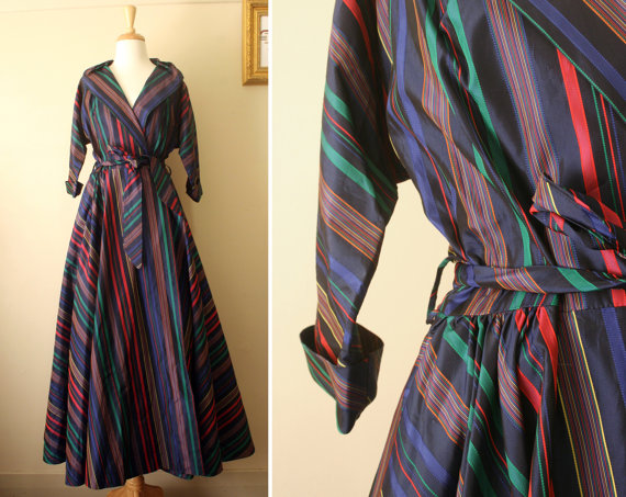 This one is fabulously close to being a very extravagant bathrobe... made of taffeta. $120 on etsy.