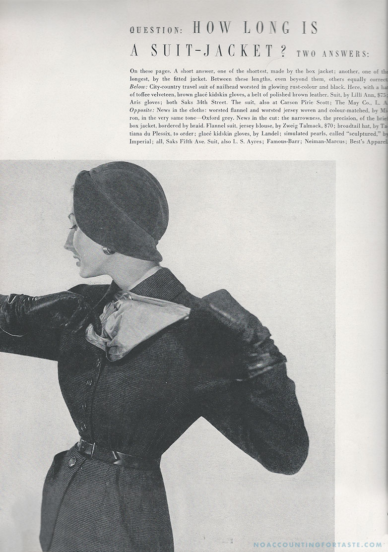 Another from the same Vogue issue, August 1, 1950. Photo by Horst P. Horst.