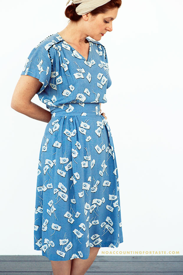 Home sewn cotton floral print dress, $64 at Playclothes in Burbank
