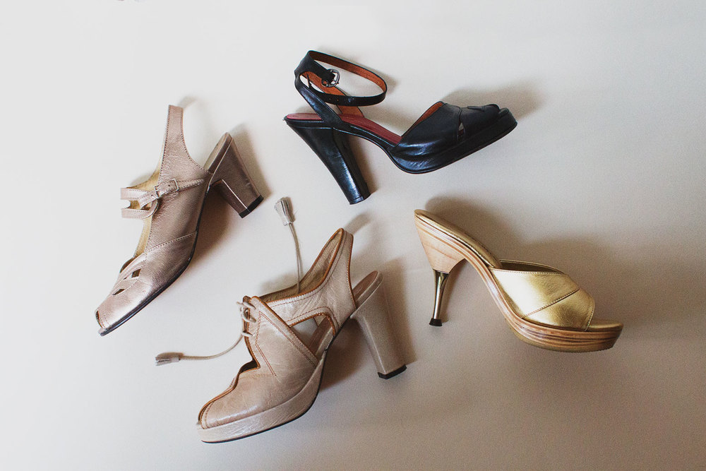 left to right, 1930s, 1940s, and 1950s heels by Remix