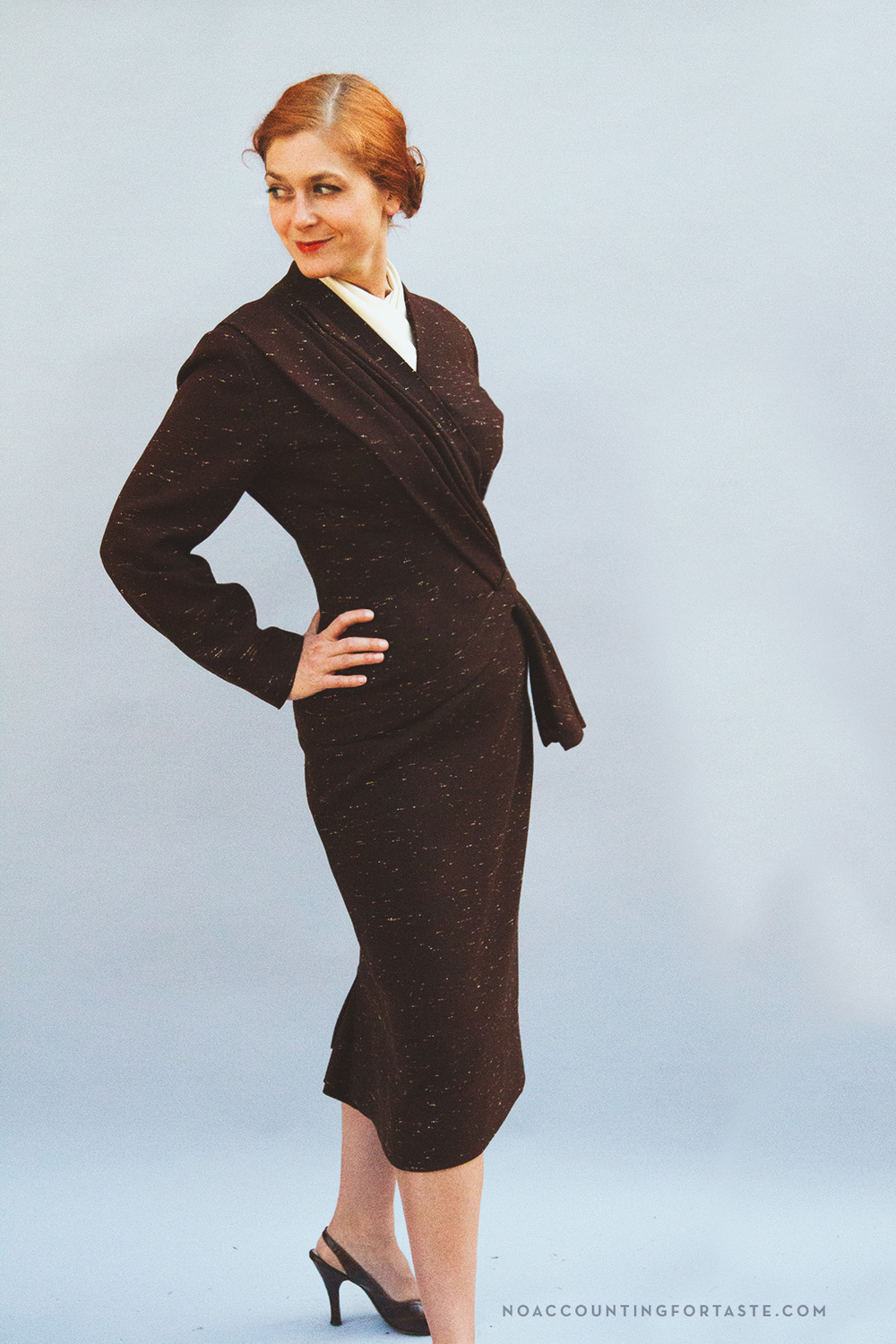 Lilli Ann asymmetric brown wool fleck suit, circa 1958