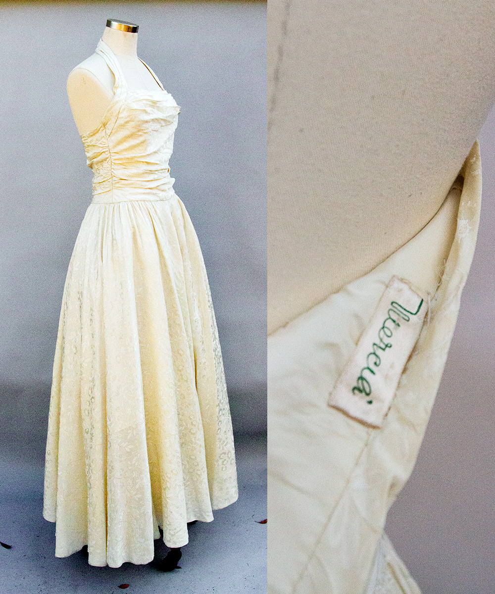 1950s floral satin halter gown, by Mercia