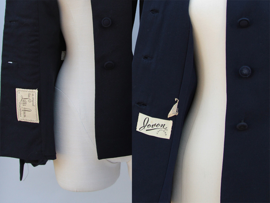 In both jackets, the makers' labels are placed just below the buttonholes inside the jacket flap. An odd coincidence?
