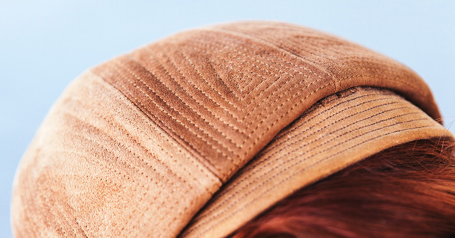 Detail of the stitching on this jaunty cap
