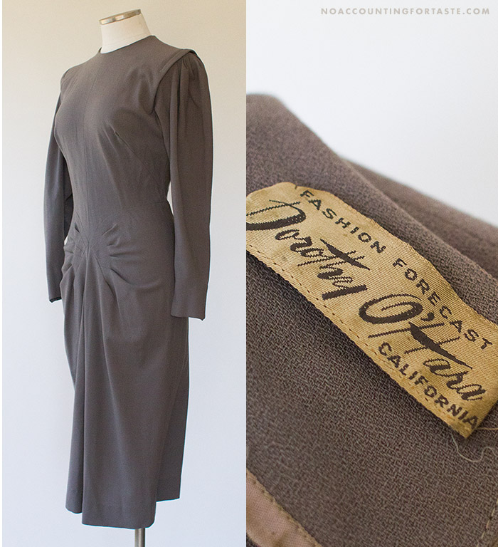 Mid-1940s steel grey crepe cocktail dress by Dorothy O'Hara