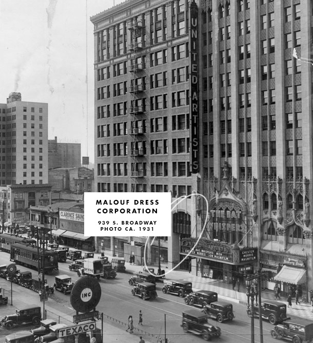 Broadway in the 1930s was an exciting place to be. Next door is the United Artists theater, which is now the Ace Hotel.