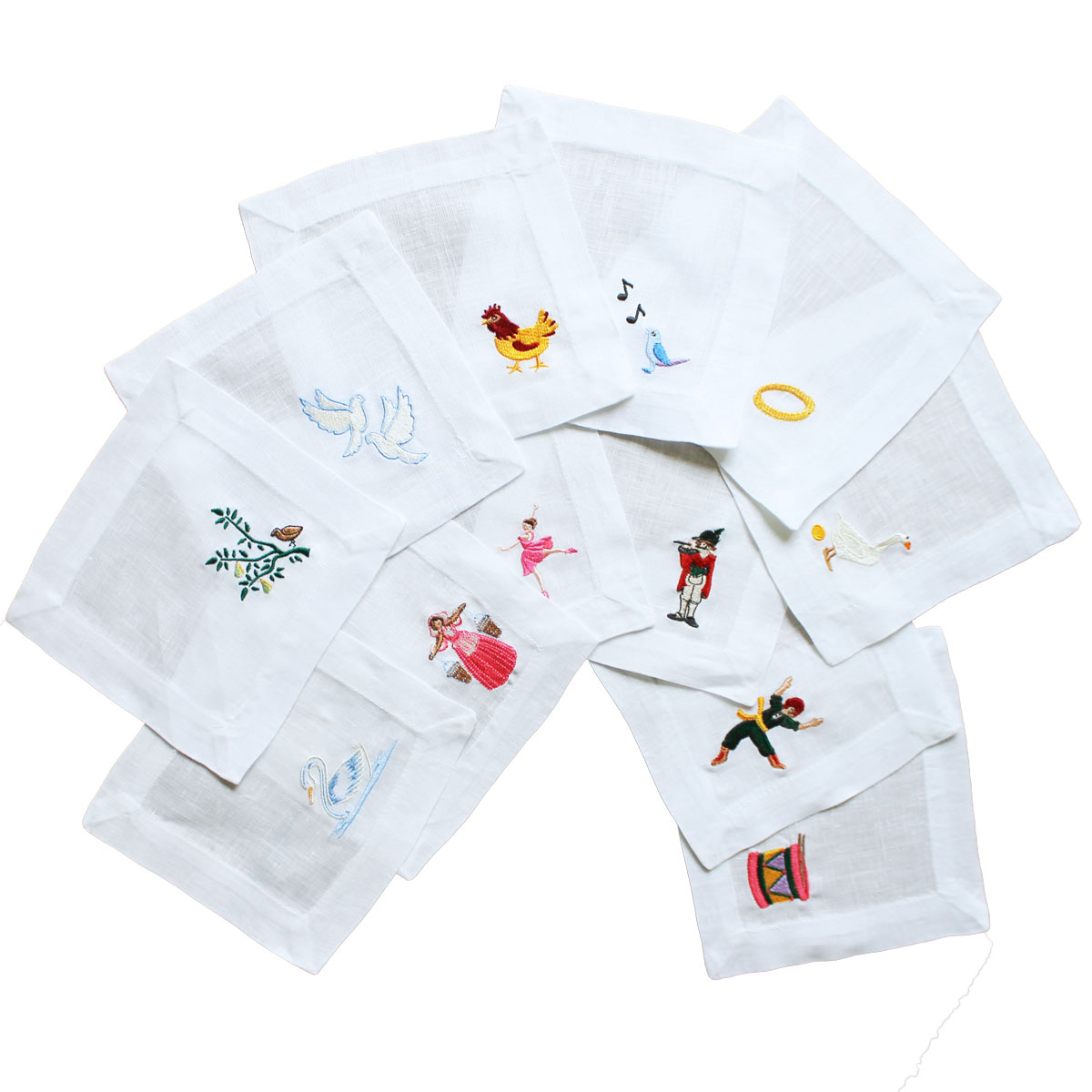 Twelve Days Of Christmas Embroidered Cocktail Napkins Lettermade