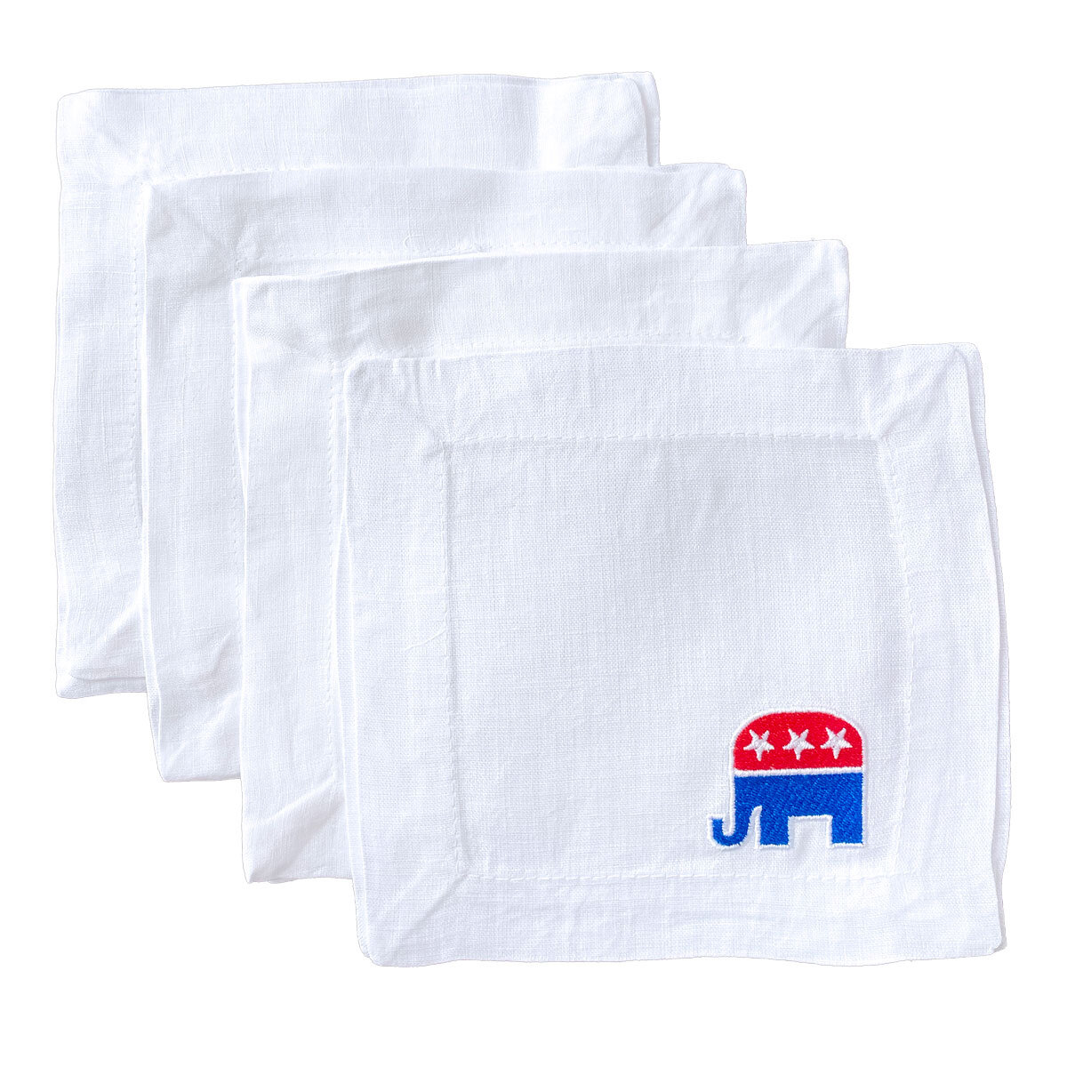 Republican Elephant Embroidered Cocktail Napkins Lettermade