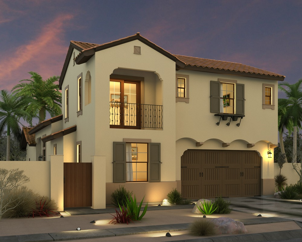 Artist's rendering of Vallera Palm Springs, Plan 1, Hacienda style elevation