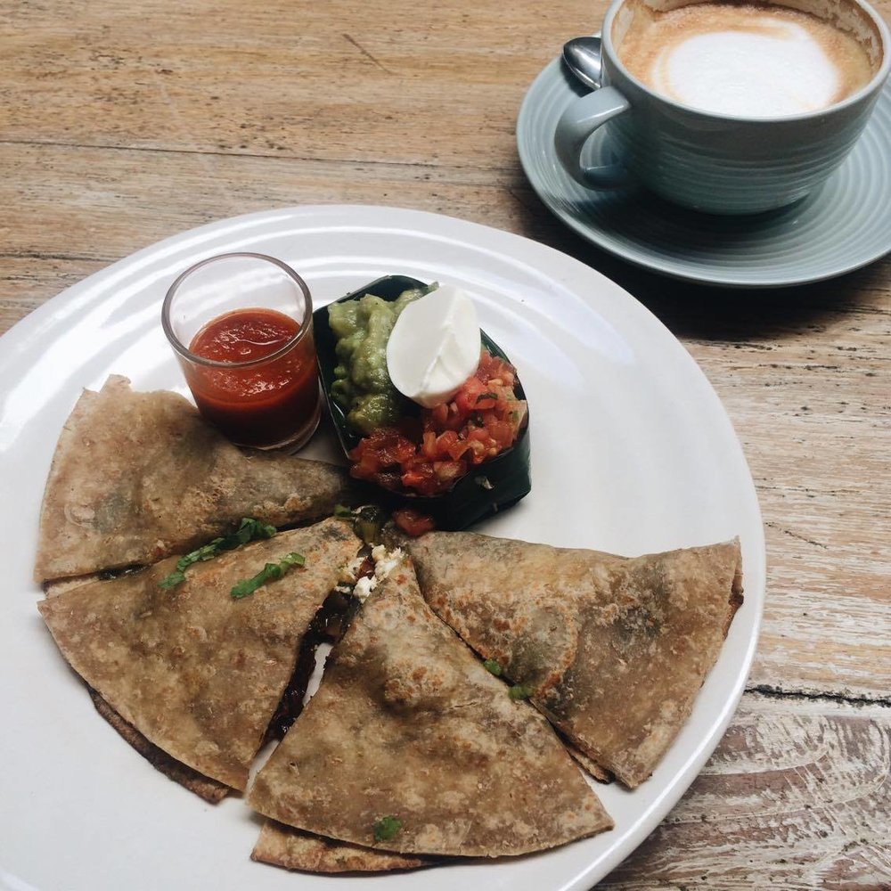 Feta & sun dried tomato, cheddar cheese with home made basil pesto quesadilla. The coffee is particularly good here too! Ft. classico latte