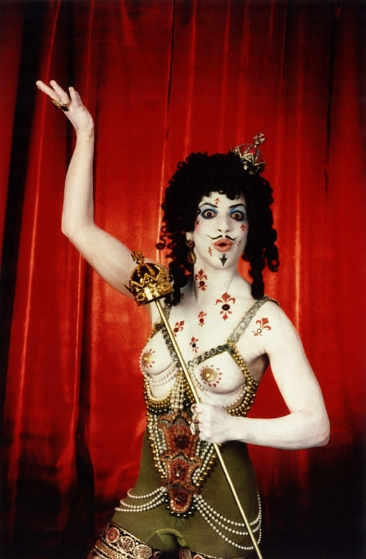 From  Annie Sprinkle's Post-Modern Pinups: Pleasure Activist Playing Cards  by Annie Sprinkle, 1995. Makeup by Kabuki