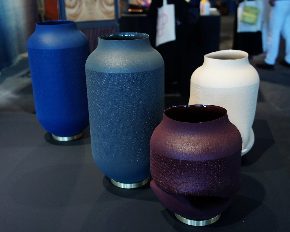 Series of vases that represent a fresh flower that eventually withers. Vanities by Birgit Severin @ London Design Fair