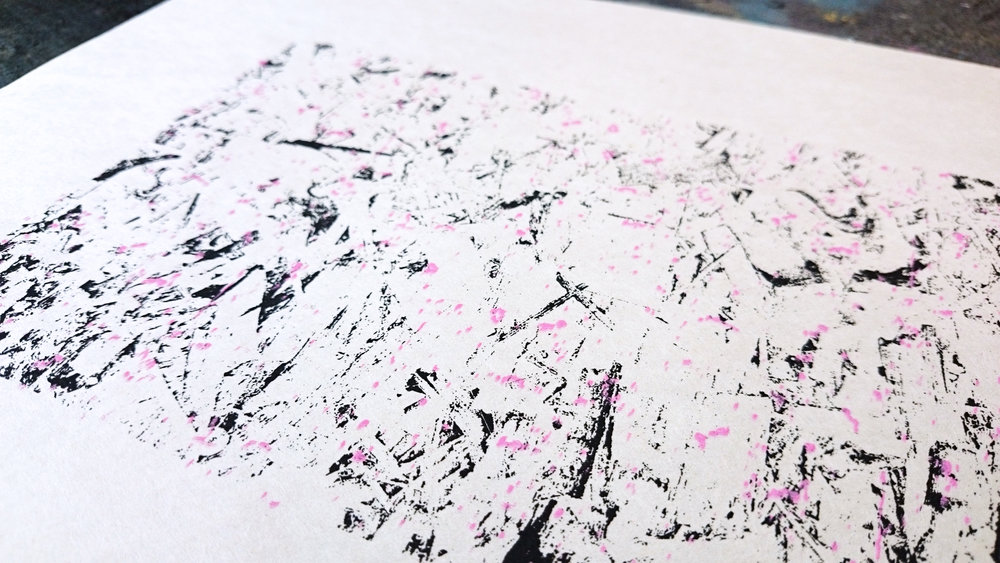 2nd layer artwork in pink is applied.