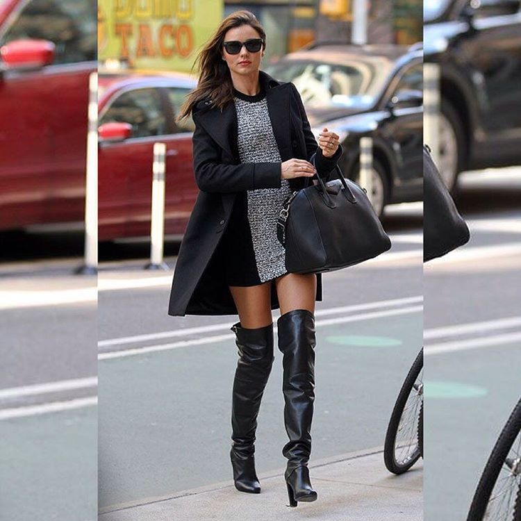 Shoe Style @mirandakerr similar to our Mifani Leather Over the Knee Boots. Style these boots with a Black Mini Dress with mettalic details, a Black Coat and your favourite bag.