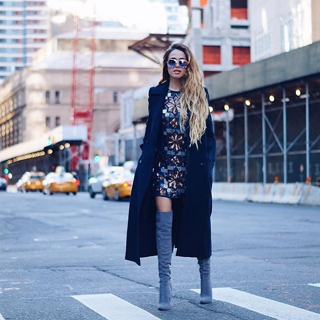 The lovely Amra Beganovich @clubfashionista wearing our Grey Over the Knee Boots!