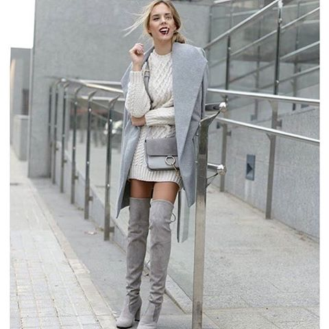 Outfit of the day with @Abisuarez and her Over the Knee Boots. Get the look with these  grey boots