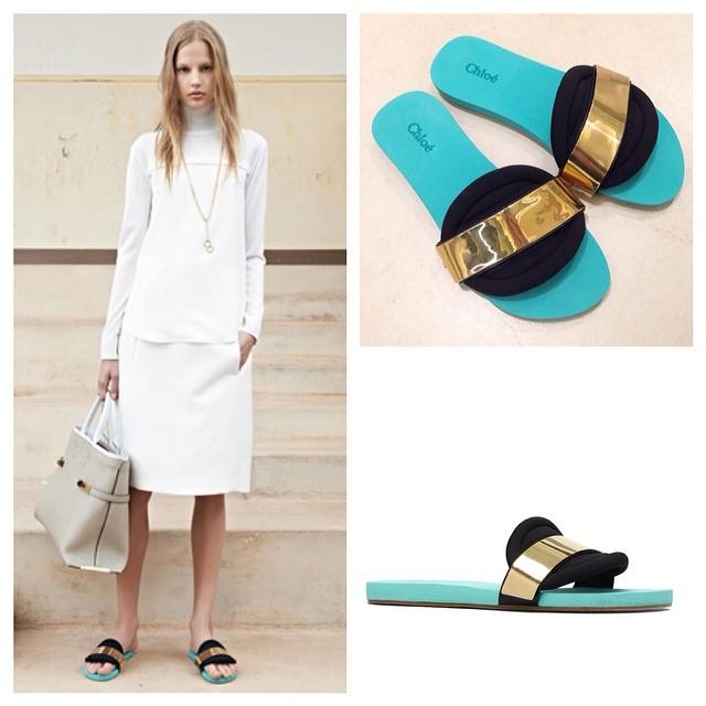 Chloe turquoise slide sandals