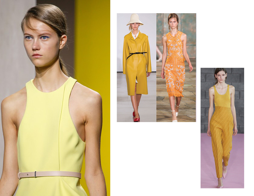 Hugo Boss opts for canary, whilst other designers introduce more of a mustard shade of marigo
