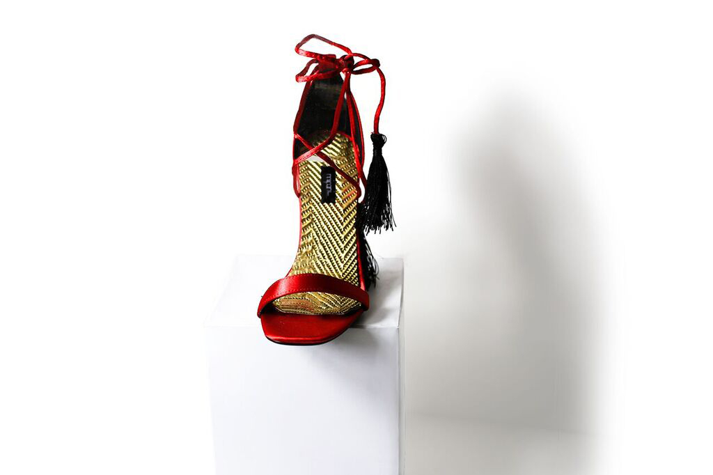 c96b1e0505c Red Barely There Tassel Lace Up Heels