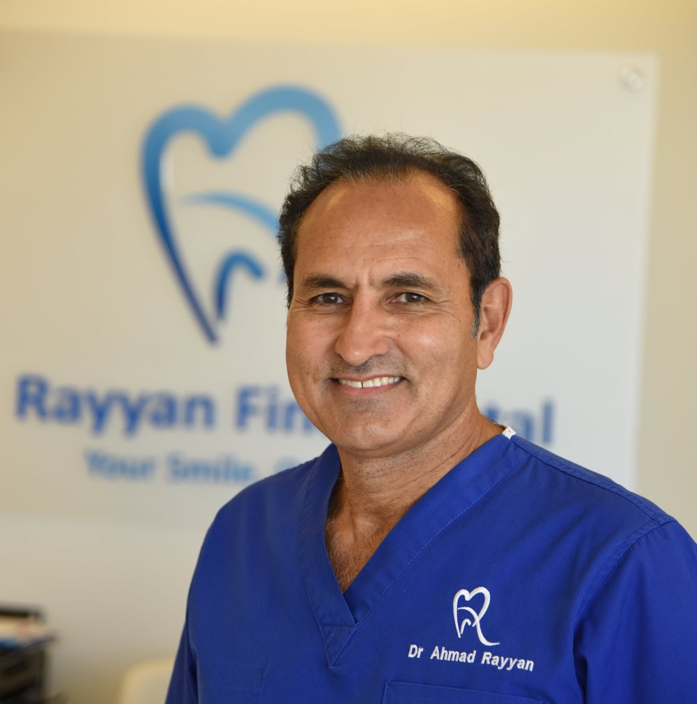 Dr. Ahmad Rayyan, BDS MSc د. أحمد الريان  -  Specialist in Conservative and Prosthodontic Dentistry (London)Specialist in Implant Dentistry (Germany)(أختصاصي العلاج التحفظي و تركيب و الأسنان (لندن(اختصاصي زراعة الأسنان (المانياDr. Ahmad Rayyan started his career 30 years ago after rigorous studies and training at The Eastman Dental Institute in the University College London. He taught undergraduate and post-graduate students at the University of Jordan, and frequently attends and presents at international conferences in the fields of Conservative, Prosthodontic and Implant Dentistry.