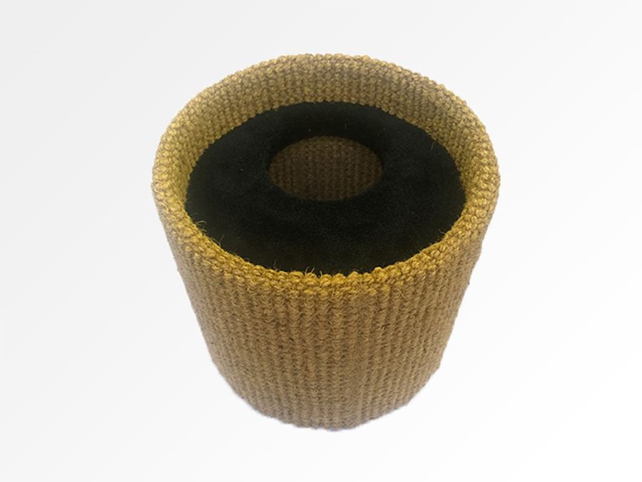 Natural Coir Bird Nest with Black Twist Pile Worm Hole