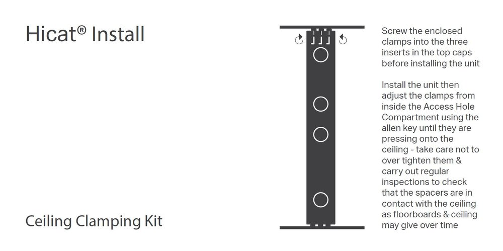 Ceiling Clamping Kit Install Diagram