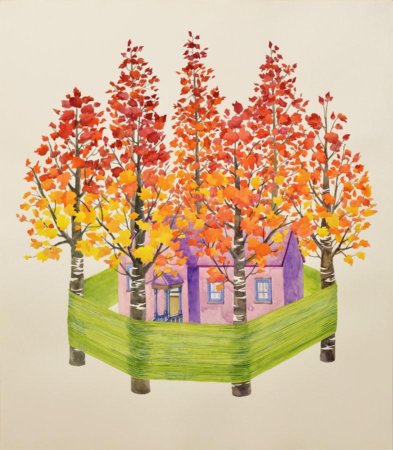 "Safe House  watercolor, gouache on Somerset paper  24x21"" (53x61cm) , 2012"