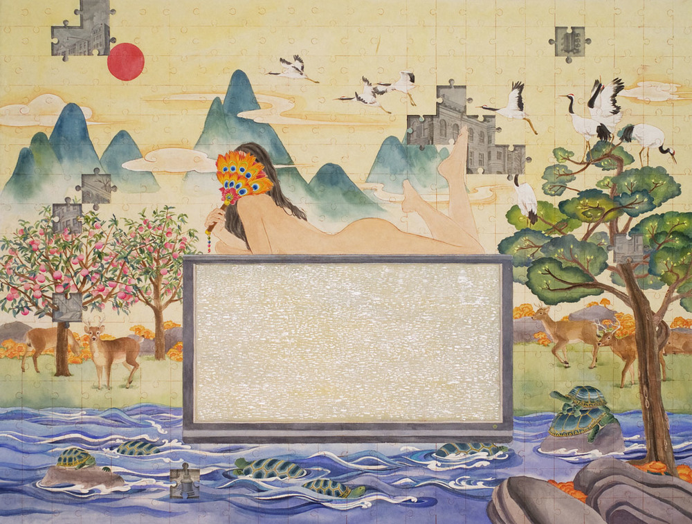 "Watching TV Show  watercolor, gouache on rice paper 36x48"" (91.5x122cm), 2012  Collection of Jordan Schnitzer Museum of Art in University of Oregon"