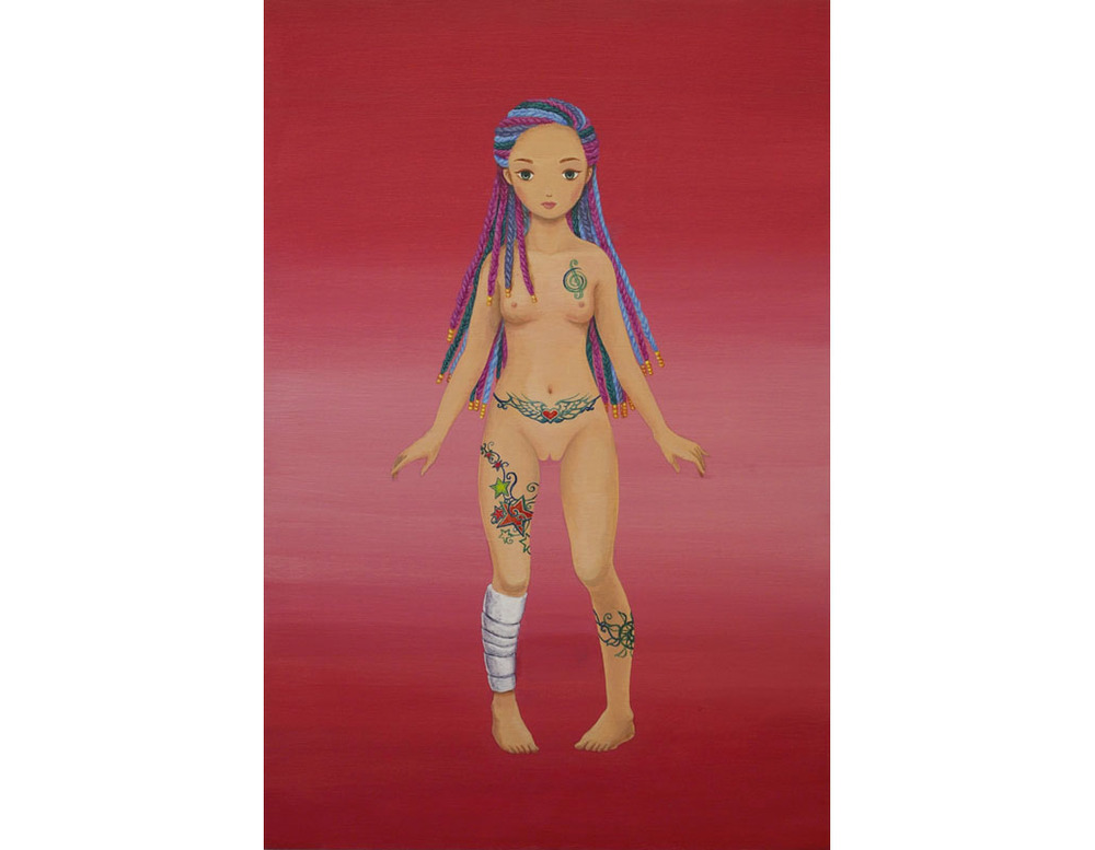 "Tattooed Girl acrylic on wood panel 18x12"" (46x30.5cm), 2013"