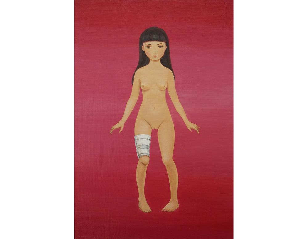 """Girl in My Neighborhood acrylic on wood panel 18x12"""" (46x30.5cm), 2013"""