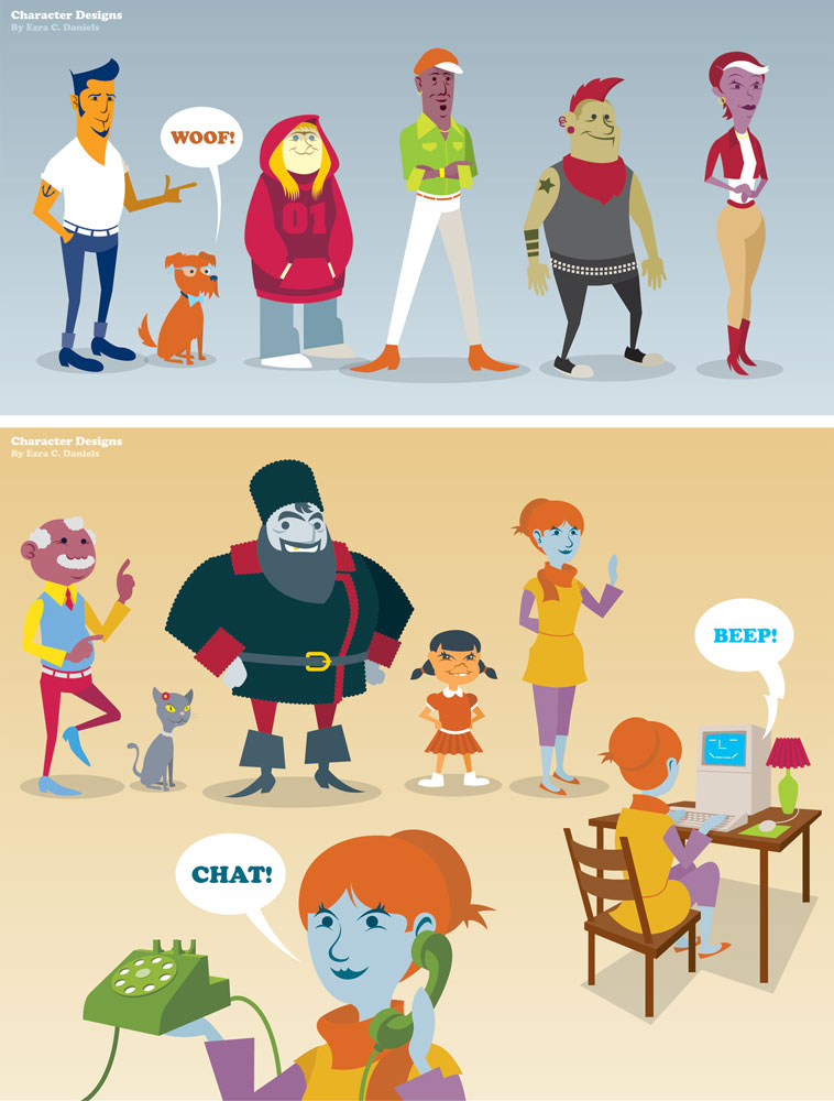 Vocalo web promo character designs